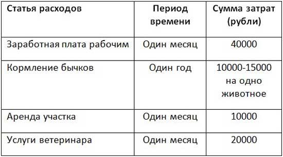 Таблица расходов на персонал