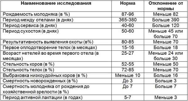Таблица структуры стада