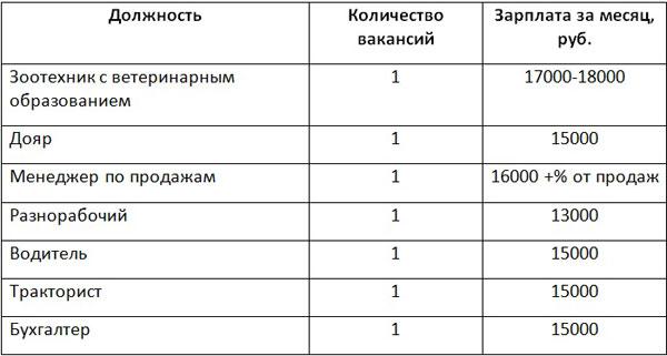Таблица затрат на персонал
