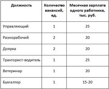 Таблица занятости персонала