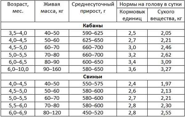 Таблица примерных норм кормления ремонтного молодняка