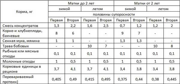 Таблица примерных норм употребления продуктов на одну супоросную свиноматку в сутки