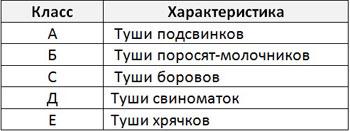 Таблица классов свиных туш