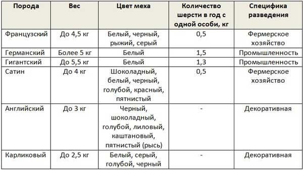 Таблица характеристик разновидностей ангорских кроликов